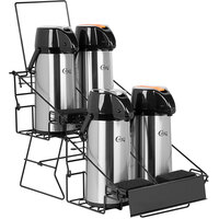 Choice 5-Piece Airpot Merchandising Rack Set with (1) Rack and (4) 2.2 Liter Glass Lined Airpots