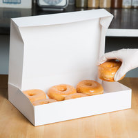 12 inch x 8 inch x 2 1/4 inch White Auto-Popup Donut / Bakery Box - 20/Pack