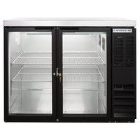 Beverage-Air BB48HC-1-G-B-27 48 inch Back Bar Refrigerator with 2 Glass Doors and Stainless Steel Top - 115V