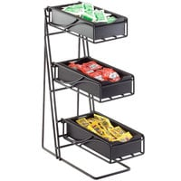 Cal-Mil 1235-13-96 Black 3-Tier Metal Flatware / Condiment Display with Midnight Bamboo Bins