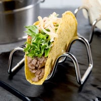 Choice Stainless Steel Wire Taco Holder with 1 or 2 Compartments - 3 5/8 inch x 2 1/4 inch x 1 1/2 inch