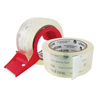 Universal One UNV31102 2 inch x 55 Yards Clear Heavy-Duty Acrylic Box Sealing Tape with Dispenser - 2/Pack