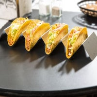 Choice Stainless Steel Taco Holder with 4 or 5 Compartments - 13 1/4 inch x 4 inch x 2 inch