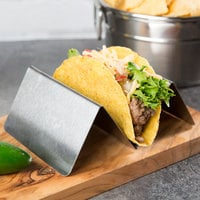 Choice Stainless Steel Taco Holder with 1 or 2 Compartments - 4 inch x 4 inch x 2 inch