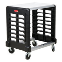 Rubbermaid FG331600BLA ProServe Max System Black Side Load Prep Cart with Cutting Board - 8 Slots
