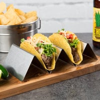 Choice Stainless Steel Taco Holder with 2 or 3 Compartments - 8 inch x 4 inch x 2 inch