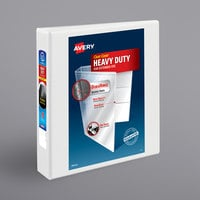 Avery 5404 White Heavy-Duty Non-Stick View Binder with 1 1/2 inch Slant Rings