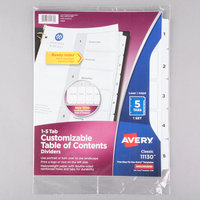 Avery 11130 Ready Index 5-Tab White Table of Contents Dividers