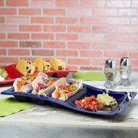 Tuxton GZC-800 TuxTrendz 14 5/8 inch x 8 5/8 inch Cobalt Stackable China Taco Plate - 6/Case