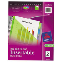 Avery 11902 Big Tab 5-Tab Insertable Multi-Color Plastic Dividers with Folder Pockets