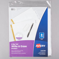 Avery 23078 Big Tab Write & Erase 8-Tab White Dividers