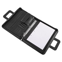 Universal UNV25650 14 1/2 inch x 11 1/2 inch Black Vinyl Padfolio with 3 Round Binder Rings and Zipper Closure