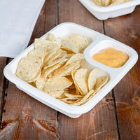 EcoChoice Biodegradable, Compostable Sugarcane / Bagasse Large 2 Compartment Nacho / Food Tray - 50/Pack