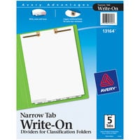 Avery 13164 5-Tab White Paper Narrow Bottom Tab Write-On Dividers