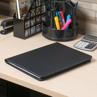 Universal UNV32660 12 1/2 inch x 9 3/4 inch Black Leather Padfolio