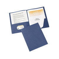 Avery 47975 Letter Size 2-Pocket Paper Folder with Prong Fasteners, Dark Blue - 25/Box