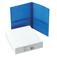 Avery 47976 Letter Size 2-Pocket Paper Folder with Prong Fasteners, Light Blue - 25/Box