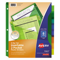Avery 11907 Big Tab 2-Pocket 8-Tab Multi-Color Plastic Insertable Tab Dividers