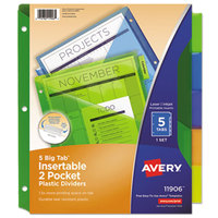 Avery 11906 Big Tab 2-Pocket 5-Tab Multi-Color Plastic Insertable Tab Dividers