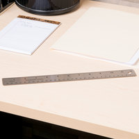 Universal UNV59023 Stainless Steel Ruler with Cork Back and Hanging Hole - 1/16 inch Standard Scale