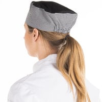 Chef Revival Customizable Houndstooth Mesh Top Baker's Skull Cap / Pill Box Hat - Regular Size