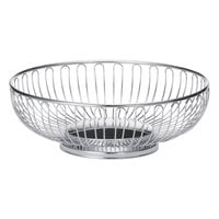 Tablecraft 4176 Chalet Large Oval Chrome Basket - 10 5/8 inch x 8 1/2 inch x 3 1/4 inch