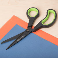 Universal UNV92022 8 inch Carbon-Coated Industrial Scissors with Black and Gray Bent Handle