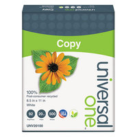 Universal Office UNV20100 8 1/2 inch x 11 inch White Case of 20# 100% Recycled Copy Paper - 2500 Sheets