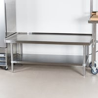 Advance Tabco ES-245 24 inch x 60 inch Stainless Steel Equipment Stand with Stainless Steel Undershelf