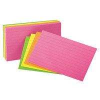 Universal UNV47257 5 inch x 8 inch Neon Glow Ruled Index Cards   - 100/Pack