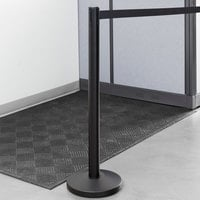 Lancaster Table & Seating 36 inch Black Metal Crowd Control / Guidance Stanchion with 78 inch Retractable Belt
