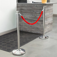 Lancaster Table & Seating Stainless Steel 40 inch Crown Top Rope-Style Crowd Control/ Guidance Stanchion