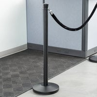 Lancaster Table & Seating Black 40 inch Crown Top Rope-Style Crowd Control / Guidance Stanchion