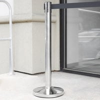 Lancaster Table & Seating Stainless Steel Silver 36 inch Crowd Control / Guidance Stanchion with 78 inch Retractable Belt