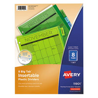 Avery 11901 Big Tab 8-Tab Insertable Multi-Color Plastic Dividers