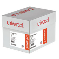 Universal UNV15851 11 inch x 14 7/8 inch Green Bar Case of 18# Perforated Continuous Print Computer Paper - 2600 Sheets