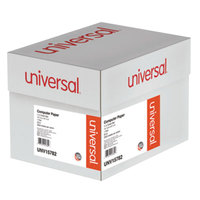 Universal UNV15782 8 1/2 inch x 14 7/8 inch Green Bar Case of 20# Perforated Continuous Print Computer Paper - 2600 Sheets