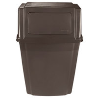 Rubbermaid FG782200BRN Brown 15 Gallon Wall Mount Rectangular Trash Can