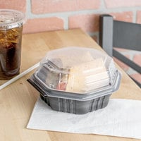 Solo 806011-PP94 Creative Carryouts OctaView Supreme 6 inch x 6 inch x 3 inch Black Microwaveable Plastic Hinged Take-Out Container - 200/Case