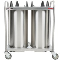APW Wyott HTL2-10 Trendline Mobile Heated Two Tube Dish Dispenser for 9 1/4 inch to 10 1/8 inch Dishes - 120V