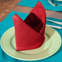 Intedge Red 65/35 Polycotton Blend Cloth Napkins, 20 inch x 20 inch - 12/Pack