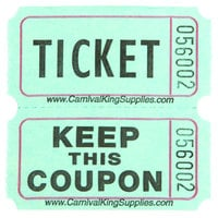 Carnival King Green 2-Part Raffle Tickets - 2000/Roll
