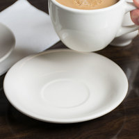 Choice 6 inch Ivory (American White) Wide Rim Rolled Edge Stoneware Saucer - 36/Case