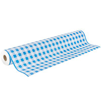 40 inch x 300' Paper Table Cover with Blue Gingham Pattern