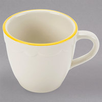 3.5 oz. Ivory (American White) Scalloped Edge China Espresso Cup with Gold Accent Band - 36/Case