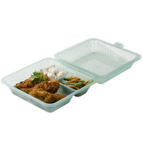 GET EC-09 9 inch x 9 inch x 3 1/2 inch Jade Green Customizable 3-Compartment Reusable Eco-Takeouts Container - 12/Case