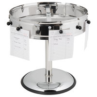 Carlisle 3812MP 14 inch Stainless Steel 12 Clip with Pedestal Base Portable Order Wheel Ticket Holder
