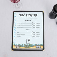 8 1/2 inch x 11 inch Menu Paper - Seafood Themed Bubbles Design Left Insert - 100/Pack