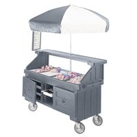 Cambro CVC724191 Camcruiser Granite Gray Vending Cart with Umbrella and 4 Counter Wells