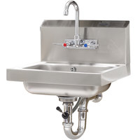 Advance Tabco 7-PS-50 Hand Sink with Splash Mount Faucet and Lever Operated Drain - 17 1/4 inch x 15 1/4 inch